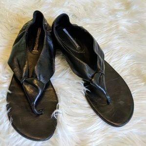 Vera Wang Lavender black leather wrap around
